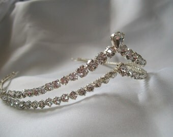 Handmade diamante double wishbone wedding bridal tiara