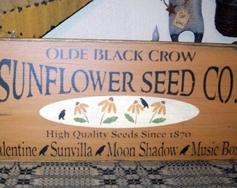SUNFLOWER SEED CO. Primitive Sign