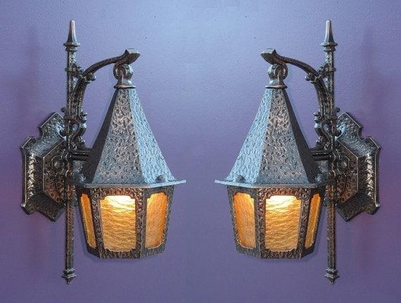 Items Similar To Vintage Tudor Storybook Porch Light Fixture On Etsy