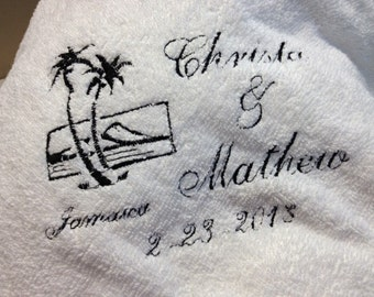 Personalized bride, groom beach towel, custom embroidered for destination weddings.