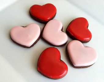 Heart Cookies - Valentine's Day - Mini Heart Cookies - Valentine Gift - Party Favors - Wedding - Bridal Shower - Decorated Sugar Cookies