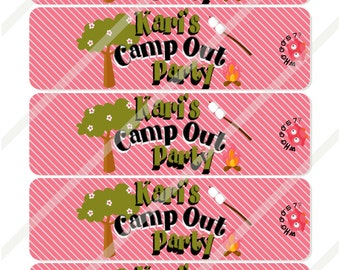 Camp Out Girl Personalized  Water Bottle Labels Print or Digital Download