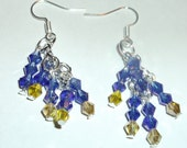 """Crystal """"Rock Candy"""" earrings on Silver french hooks 1 1/2 inches dark blue/yellow-made by me"""