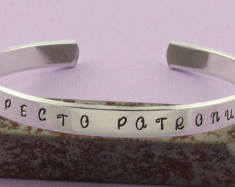 SALE - Expecto Patronum Hand Stamped Cuff Bracelet - Aluminum Bracelet