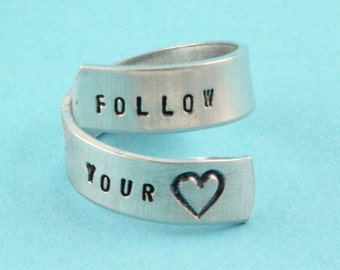 SALE - Follow Your Heart Ring - Adjustable Twist Aluminum Ring - Handstamped Ring - Valentine's Day Gift