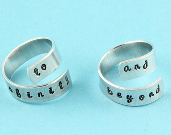 SALE - To Infinity and Beyond Rings - Adjustable Twist Aluminum Rings - Handstamped Rings - Best Friends - Couples Gift - Mothers's Day Gift