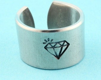 SALE - Hand Stamped Diamond Ring - Adjustable Aluminum Ring - Handstamped Ring