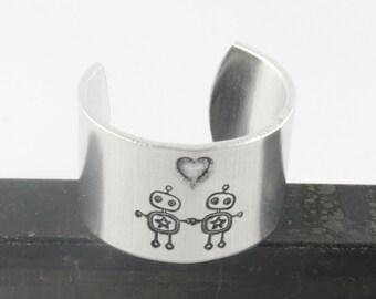 Robot Love Ring - Robot Ring - Geek Ring - Adjustable Ring - Thumb Ring - Silver Ring - Geek Love Ring - I Love You Ring - Stamped Ring