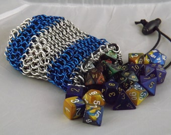Chainmail Dice Bag with Royal Blue Stripes