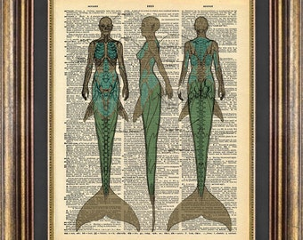 MERMAID diagram Print Vintage Dictionary Page Book Page Up Cycled