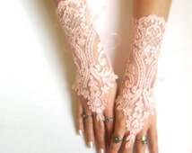 Black, Soft peach pink, ivory, Wedding gloves bridal lace gloves guantes french lace gloves  free ship 265