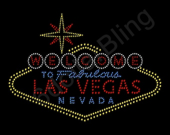 """Rhinestone Iron On Transfer """"Welcome to Las Vegas sign"""" Crystal Bling Design"""
