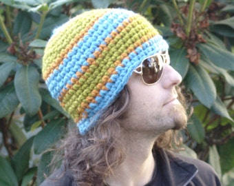 Mens Beanie Hat Wool Blend Wide Striped Chunky Beanie Hat in Blue, Green and Orange