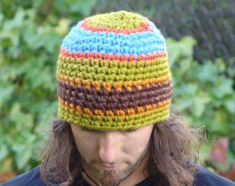 READY TO SHIP: Mens Beanie Hat Striped Chunky Wool Blend Hat in Orange, Green, Brown, Blue