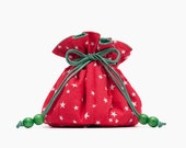 Travel Jewelry Case Red & Green Fabric Bag, White and Red Stars, Gift for Her, Jewelry Organizer Pouch, Young Living Essential Oil Case