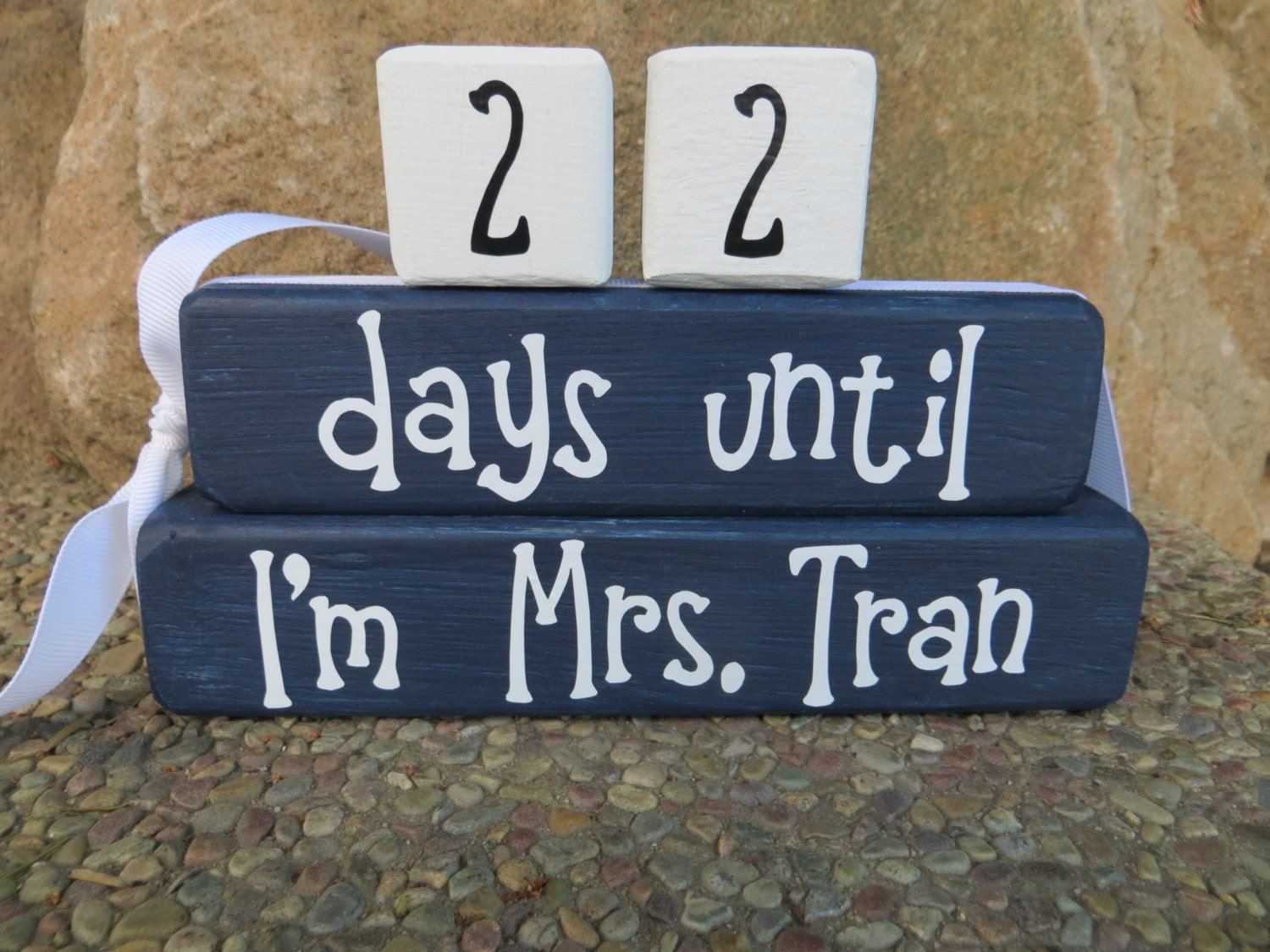 Wedding Countdown Blocks Bride to be Shower Gift Mr & Mrs