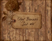 Etsy Banner Set  9 Piece - Vintage Tags on Rustic Wood