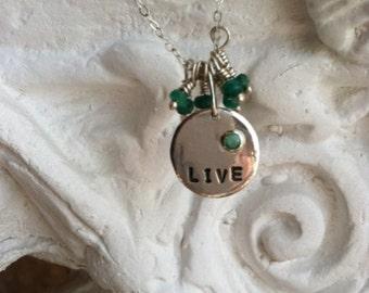Sterling Silver Live Necklace - Genuine Emerald - Valentine