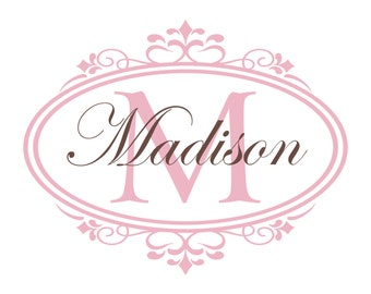 Nursery Name Decal - Shabby Chic Name And Initial Monogram Decal - Custom Vinyl Wall Decal For Baby Girl Nursery Or Girls Room GN032