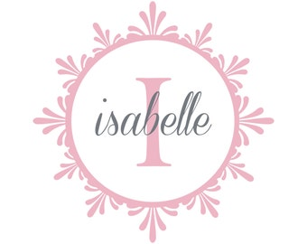 Personalized Name And Initial Wall Decal - Shabby Chic Vinyl Monogram For Baby Girl Nursery Or Teen Girls Room Wall Art 22H x 22W GN039
