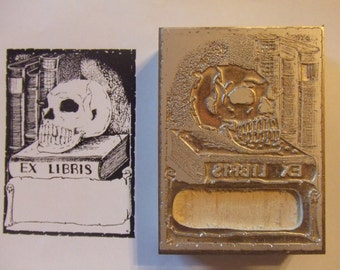 "Bookplate ""Ex Libris Skull on Books"" Letterpress Printing Block - Letterpress Blocks - Print Blocks - Mounted Letterpress Block - Mag Plate"