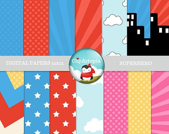 Superhero Digital Papers Pack Great for Scrapbooking, Making Cards, Tags and Invitations / INSTANT DOWNLOAD