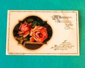Vintage Birthday Post Card, Victorian Roses