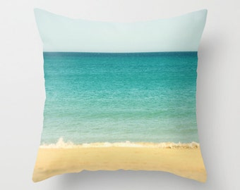 """Throw Pillow Cover - Beach, Sea & Sky abstract 16""""x16"""" 18""""x18"""" 20x20"""" inch Photography 100% SpunPolyester nature sand beige blue turquoise"""