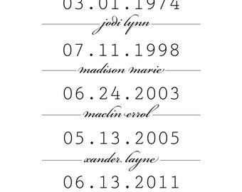 11x14 Family Timeline: Printable digital file