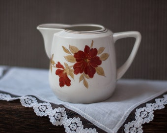Vintage Creamer - Small Floral Porcelain Cream Pitcher, Porcelain Cream Pot Made in the USSR, Vintage Kitchen