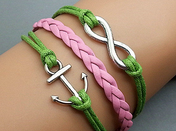 Infinity & Anchor Bracelet Charm Bracelet Antique Silver Green Korean Wax Cords Pink Leather Adjustable Weave Bangle Personalized Jewelry