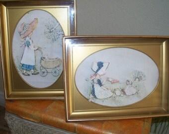 "SALE Now 13.95 Vintage 3D Hollie Hobbie "" Childhood Innocents "" Original frames with Art Tea party/art"
