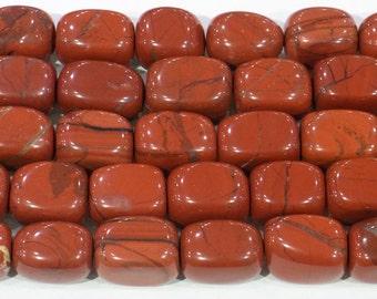 13x18mm Flat Rounded Drum Red Jasper Semi Precious Gemstone - 6229