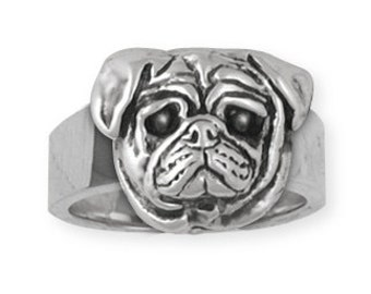 Sterling Silver Pug Dog Ring Jewelry  DG6-R