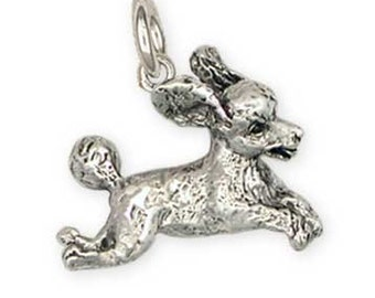 Solid Sterling Silver Playful Poodle Charm Jewelry  PD23-C