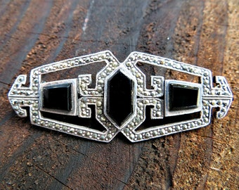 Vintage Sterling Silver and Marcasite Art Deco Pin Brooch with Black Onyx -destash