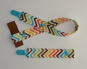 Boy Chevron Pacifier Clip and Toy/Sippy Cup Strap Chevron Cotton With Plush Elastic