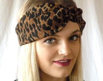 Leopard Turban Headband Leopard Print Sheer Turband Womens Hair Accessory