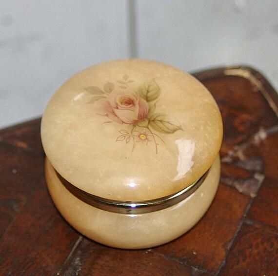 Italian Marble Trinket Box Jewelry Box 1960s Rose By