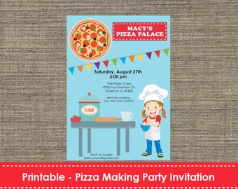 Pizza Making Party Invitation - DIY - Printable
