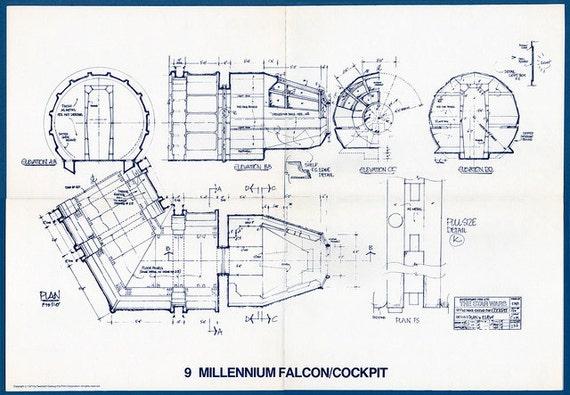 1977 millennium falcon cockpit star wars vintage blueprint. Black Bedroom Furniture Sets. Home Design Ideas