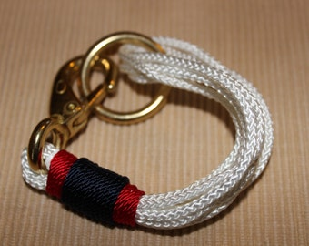 Maine Rope Bracelet -  White Multi-Strand Bracelet - with Red / Navy Accent - Made to Order