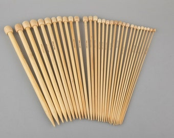 18 sets bamboo knitting needles available in 3 lengths 7.5 inch, 10 inch