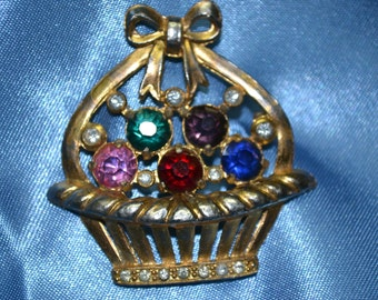 Antiqued Gold Easter Basket with Rhinestone Figural Brooch Pin