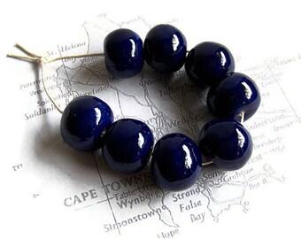 Dark blue handmade ceramic beads from South Africa, African beads, Ceramic Beads, artisan beads