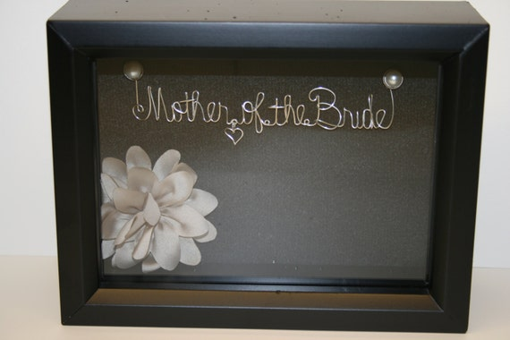 Mother of the bride wedding bridal shower gift idea wire for Wedding dress shadow box for sale