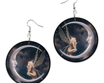 Elf on the moon decoupage earrings, Fairy on Moon Earrings, Fairy Jewelry, Hypoallergenic Earrings