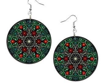 Folk - handmade earrings - decoupage, Green Floral Mandala Jewelry, Mandala Hypoallergenic Earrings