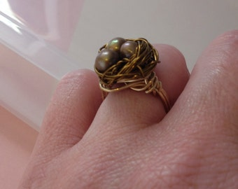 Antique Brass Bird's Nest Ring