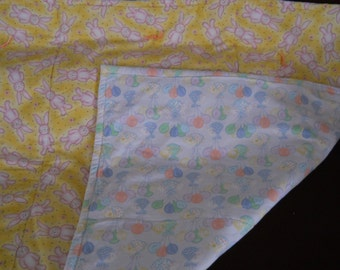Yellow and Pink Bunny Spring Blanket